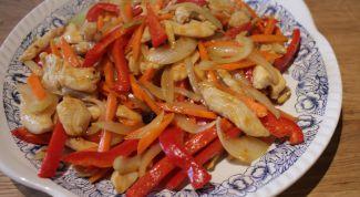 Как приготовить жареную курицу с овощами по-китайски