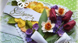 Как сделать открытку с цветами из промокашки