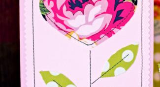 Как сделать открытку из картона и ткани на День влюбленных