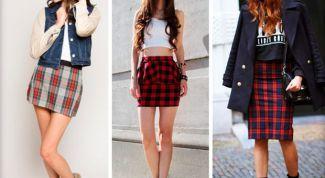 Как и с чем носить юбку-шотландку