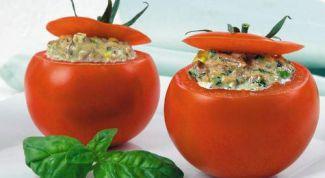 Stuffed lentils tomatoes with potato