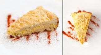 Mustard cakes with red rice and smoked sausage