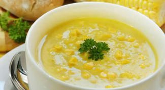 Corn soup with mushrooms