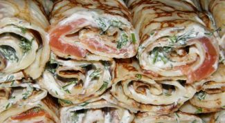 Pancakes with cilantro and fish fillings