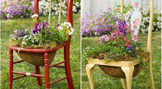 Как сделать украшение для сада из обычного стула