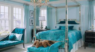 Make the interior of a bedroom in turquoise color