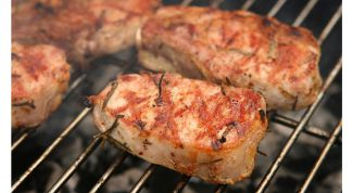 Pork escallops grilled in a marinade of Apple juice