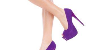 Туфли на каблуке фиолетового цвета