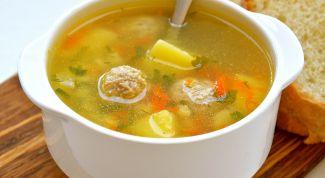 Суп с рисом, овощами и фрикадельками