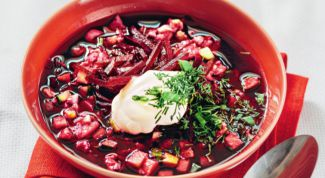 Beetroot soup with fish