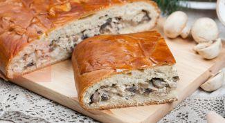 Запеченный пирог с индейкой и грибами