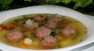 Суп с тефтелями из форели