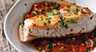 Grilled halibut with sauce