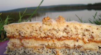 Торт с орехами и маком