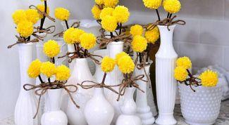 Как сделать интерьерные цветы из помпонов