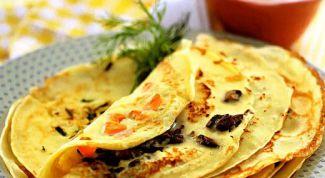Как приготовить блины с припеком из ветчины, сыра и грибов