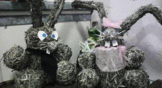 Как сделать зайцев из сена