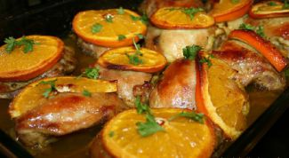 Как запечь курицу с апельсинами
