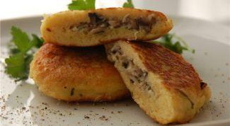 Как приготовить картофельные оладьи, фаршированные грибами