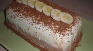 Как приготовить двухцветный десерт из творога с бананом