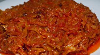 Как приготовить тушёную капусту с помидорами