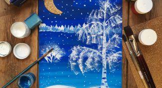 Как нарисовать зимний пейзаж гуашью поэтапно
