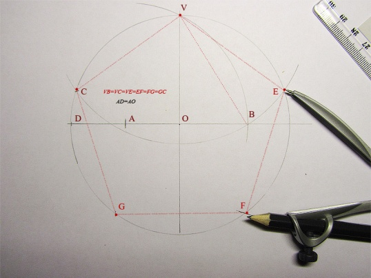 Как построить пятиугольник с помощью циркуля