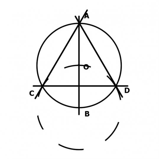 Как начертить равносторонний треугольник