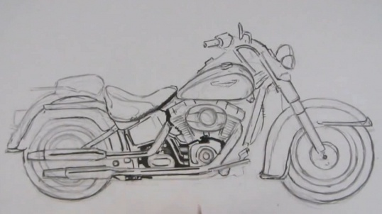 Как нарисовать мотоцикл Рисование