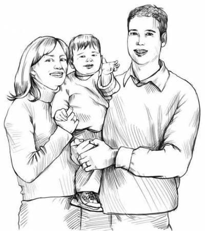 Вопрос нарисовать семью из трех человек поэтапно Рисование