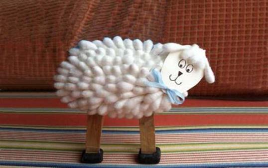 ПОДЕЛКИ к Новому году: коза из ватных палочек Hand-made