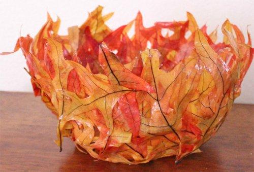 ОСЕННИЕ поделки: ваза из листьев Hand-made