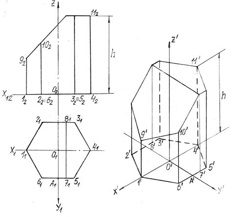 Шестиугольная призма в изометрии