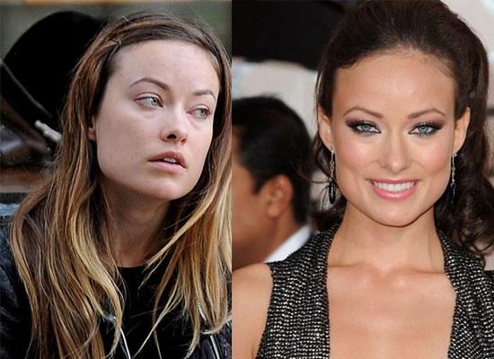 Снимки актрис с макияжем на лице и без него  31375