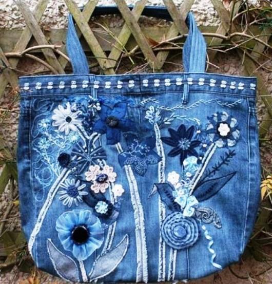 Декорирование джинсовой сумки своими руками 94