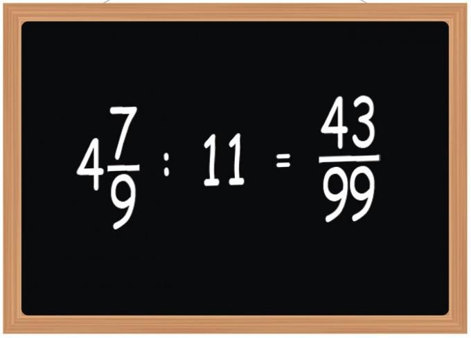 Как разделить дробь на натуральное число