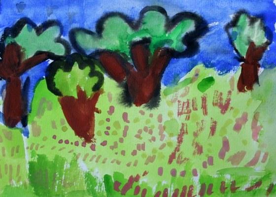 Как нарисовать дерево красками