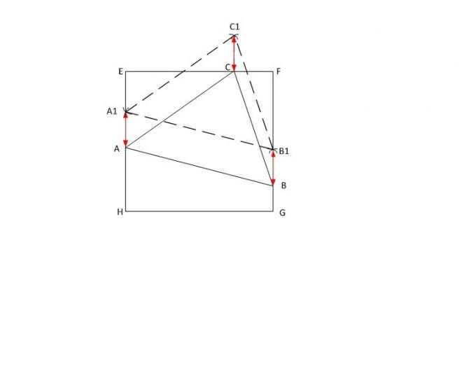 Как вписать треугольник в квадрат