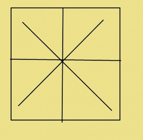 Проведите обе диагонали