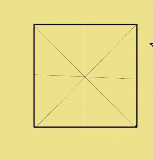 Сложите квадрат по двум диагоналям