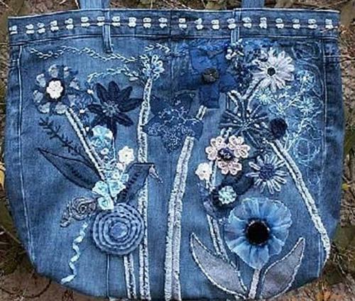Как сшить сумку из ветхих джинсов