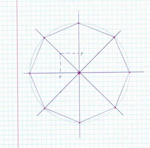 Восьмиугольник при помощи циркуля