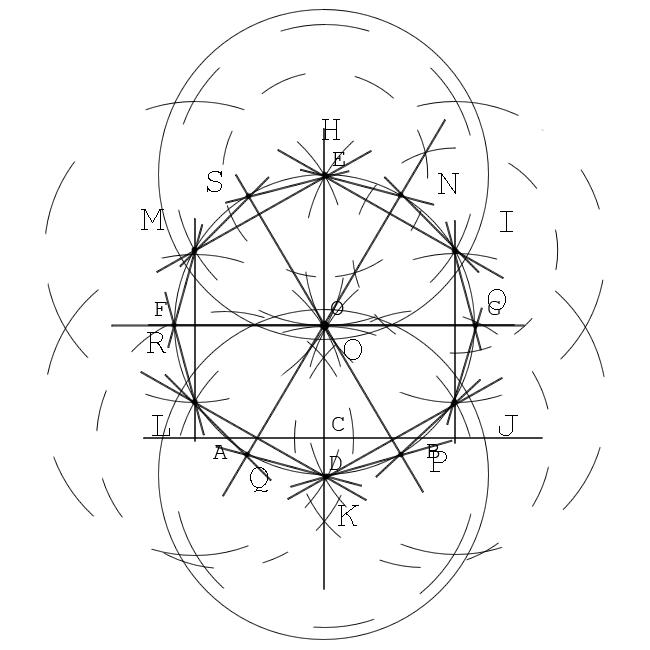 Как вписать двенадцатиугольник в окружность