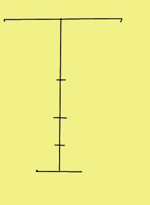 Проведите вертикальную осевую линию и разметьте ее по высоте
