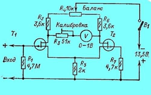 Схема калибровочного вольтметра