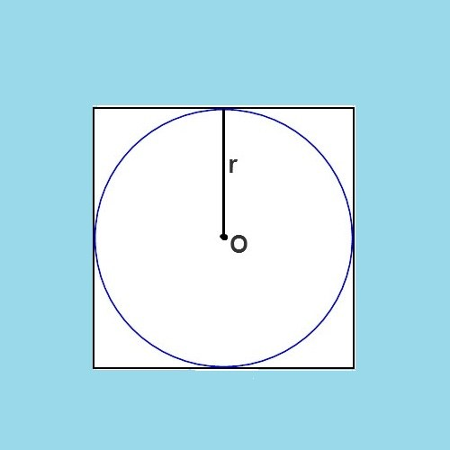 Как обнаружить радиус вписанной в квадрат окружности