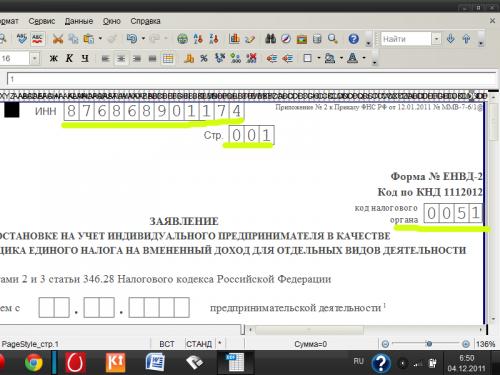 Напишите ИНН, номер страницы и код налоговой