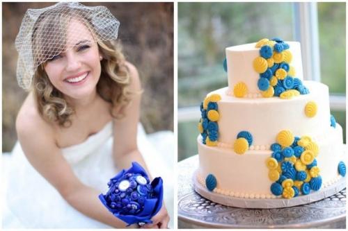 Наряд невесты с голубыми деталями