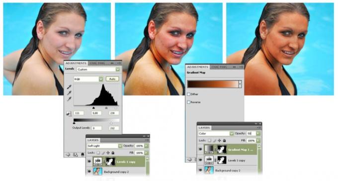 Как сделать в фотошопе загар