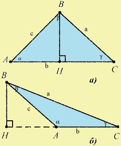 Перпендикуляр из вершины угла к противолежащей стороне